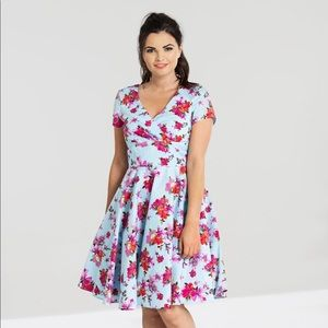 Hell Bunny Blue Floral Dress Pinup Vintage Swing
